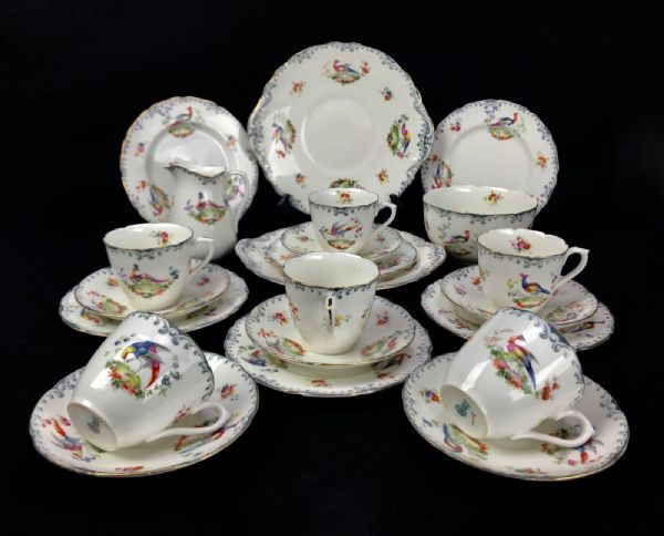 Antique Royal Doulton Tea Set For 6 People / Chelsea Bird Design / RARE